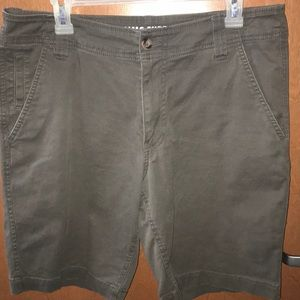 Men's gray flat front shorts.
